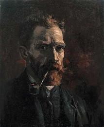 Zelfportret met pijp, Vincent van Gogh, 1886, Olieverf op doek, 46 x 38 cm, Van Gogh Museum, Amsterdam (Vincent van Gogh Stichting)